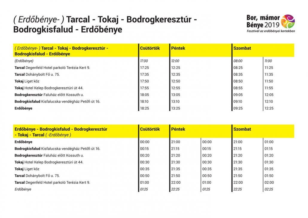 Transzferbusz menetrend ( Erdőbénye- ) Tarcal - Tokaj - Bodrogkeresztúr - Bodrogkisfalud - Erdőbénye
