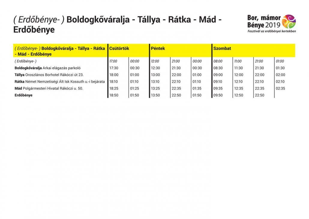 Transzferbusz menetrend ( Erdőbénye- ) Boldogkőváralja - Tállya - Rátka - Mád - Erdőbénye