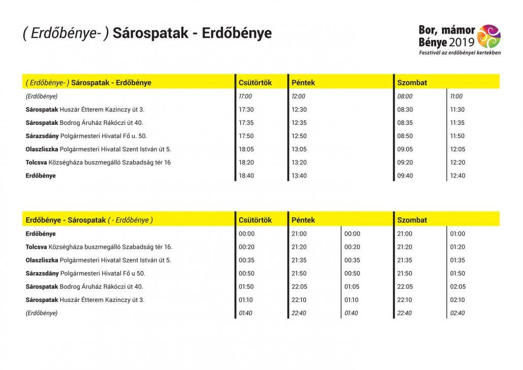 Transzferbusz menetrend ( Erdőbénye- ) Sárospatak - Erdőbénye